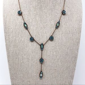 Blue Stone & Bronze Y Style Necklace by Park Lane